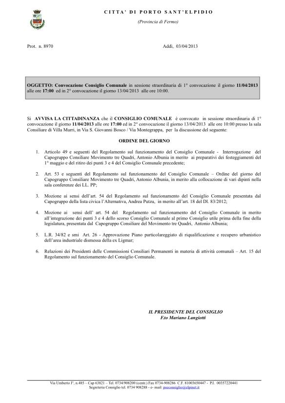 Giovedì 11 Aprile convocazione del consiglio comunale