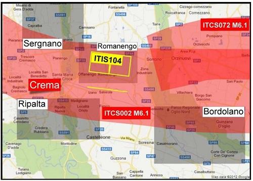 Zone di stoccaggio in Lombardia, quelle rosse sono zone a rischio sismico, in quelle nere dovrebbe essere stoccato il gas.