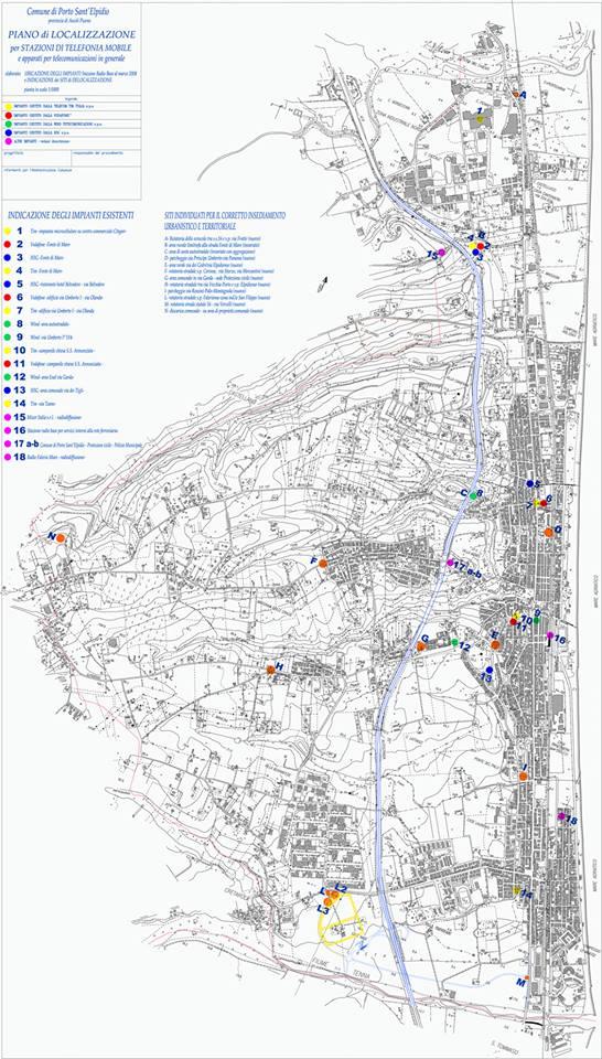 Planimetria dei siti individuati per la costruzione di antenne a Porto Sant'Elpidio