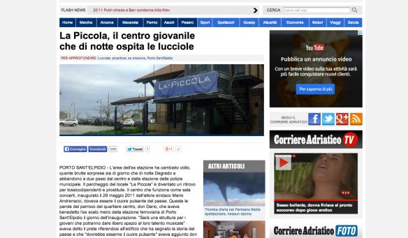 """L'articolo pubblicato dal Corriere Adriatico che ha innescato l'affaire """"La Piccola"""""""