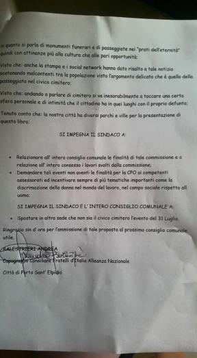 La mozione presentata dal consigliere Balestrieri