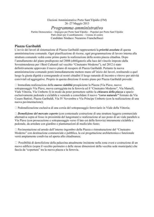 Estratto del programme elettorale di Nazareno Franchellucci